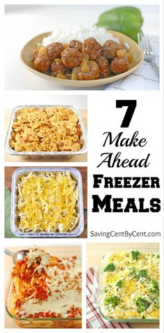 Make Ahead Freezer Meals These 7 freezer meals are easy freezer meals to make and save you time when you need dinner on a busy day.These 7 freezer meals are easy freezer meals to make and save you time when you need dinner on a busy day. Plan Ahead Meals, Make Ahead Freezer Meals, Freezer Cooking, Freezer Dinner, Make Ahead Casseroles, Easy Meals To Make, Crockpot Freezer Meals, Meals You Can Freeze, Freezable Casseroles