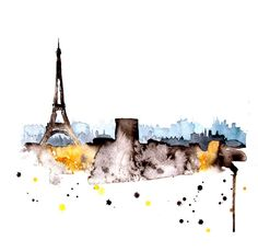 Eiffel Tower Paris city abstract ART PRINT 13X19 watercolor painting via Etsy