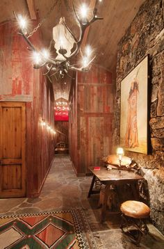 What a beautiful Western Rustic Entry Hallway at the rustic cabin