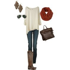 Casual Fall outfit. If u like the angle of the bottom hem, Try CAbi Edge tee! Same pretty Winter white  comes in Steel Grey also!
