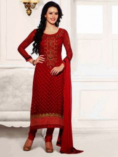 Red Brasso Suit With Resham And Zari Embroidery Work