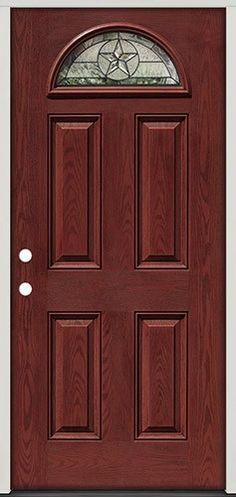 Pre Finished Oak Fibergl Front Entry Door Star Fan Lite From Clearance Center