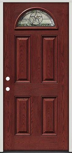 Pre finished Oak Fiberglass Double Doors Star Fan Lite 35 front