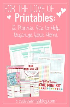 Get your home, finances, and life in order with these super adorable Printable Planner Kits. Available this week only!