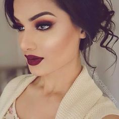 Image result for makeup to go with a burgundy dress