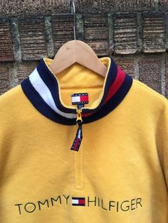 0346833b022d8 Vintage Tommy Hilfiger Fleece Jacket 1 2 Zip Pullover Size XL Spell Out  Logo