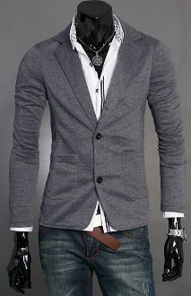Men's Long Sleeve Casual Blazer with Pockets