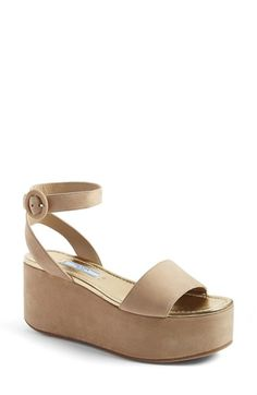 Free shipping and returns on Prada 'Donna' Flatform Sandal (Women) at Nordstrom.com. A superchunky platform wedge grounds an Italian ankle-strap sandal crafted from lush suede.