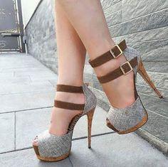 FSJ Linen Two Ankle Buckles Pumps Women's Style Sandal Shoes Grey Peep Toe Platform Buckle Ankle Strap Sandals Summer Outfits 2018 Bucket List Ideas Street Style Outfits 2018 Sexy High Heels Shoes  FSJ