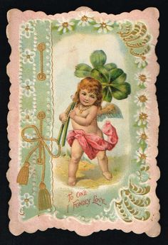 Embossed Valentine Card - Naked Cherub Carrying 4-Leaf Clovers