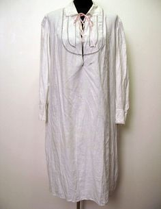 Vintage 1920's Night Shirt Nightgown with Lace Insets