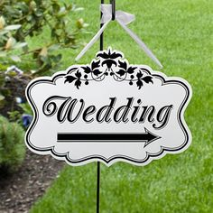 A nice elegant touch to direct your guests to the clubhouse or the hole your ceremony is at!  Double Sided Wedding Direction Sign  $25.95 WhereBridesGo.com  #wherebridesgo
