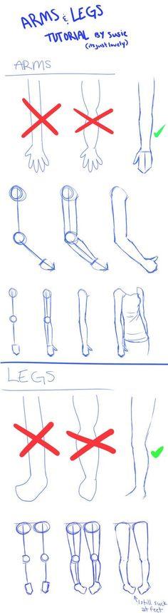 Como desenhar braços e pernas by augusta