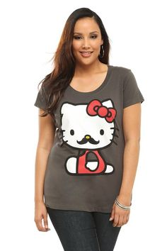 Doe - Hello Kitty Mustache Scoop Neck Tee