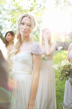 Beaded Cap Sleeve Wedding Dress- I want to look all ethereal like her!