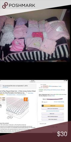 👶🏼 Infant/Toddler Sheets, Blankets, Etc 1st Row down 3 playpen sheets. Pink used a few months, bottom used once & middle never used  2nd row down 2 changing pad covers, purple new pink looks like an old towel with pulls  Under is a hooded towel like new  The rest is a mix of 11 receiving blankets Ranging from thin to thick. Some like new I think only 2 bought used. 1 or 2 fair condition they may have a faint stain or pulls, the rest good condition. The pink 1 to the far right is super…