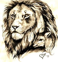 Lion And Lamb Art.....lol for my Bible not as a tatoo.