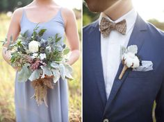 Different colored blazer with coordinating bow ties, yes please... *green wedding shoes*