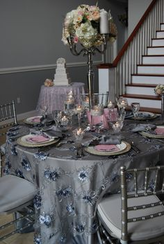 Beautiful guest table and cake table from Save the Date Wedding & Event Design, Cloth Connection, Kirby Rentals, A Chair Affair, Dogwood Blossom Stationery, Bluegrass Chic Wedding & Event Floral, Party Flavors Custom Cakes