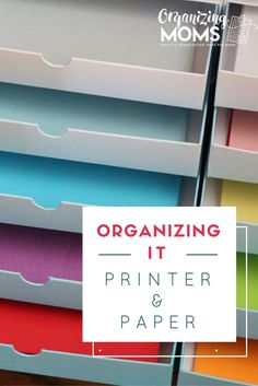 How to organize a printer and printer paper. Great for organizing different paper colors. Easy to use and access, but still pretty! via @organizingmoms
