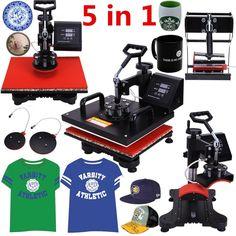 Iglobalbuy Pro 5 IN1 Plate Mug Cap T-Shirt Multifunctional Digital Heat Press Transfer Machine Sublimation