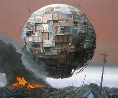 Japanese artist Sashie Masakatsu creates surreal paintings in which ramshackle orb structures float above post-apocalyptic, rubble-strewn landscapes. Some of the orbs consist of cobbled together building facades, others are made of vending machines and other everyday objects. A solo show of Masakatsu's work will take place October 19 to November 16, 2013 at the Jonathan Levine Gallery in New York City.