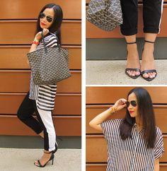 #BlackWhite and Red #Outfit #ootd #stripes @Zara Lamey #shoes @James Richter #pants #goyard #bag #rayban #aviators @Tory Burch #bracelet