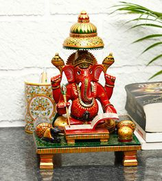Hand Carved #Wooden #LordGanesha Statue #Indianroots