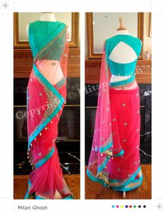 Reddish pink net with very delicate hand embroidery. With Banarsi woven silk blouse. Comes with a sequined petticoat.