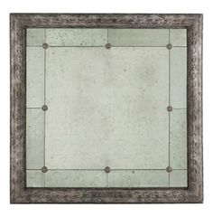 French Country Antique Gray Bilzen Large 48 Square Rosette Mirror