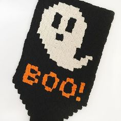 Used up a bit more of my @yarnspirations stash on this cute Boo! Banner and can't wait to hang him on the door this Halloween!! Will get the graph ready for downloading later this week!