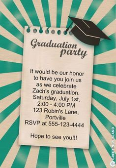 Save Money with These Free, Printable Graduation Invitations: Printable Graduation Party Invitation from Greetings Island