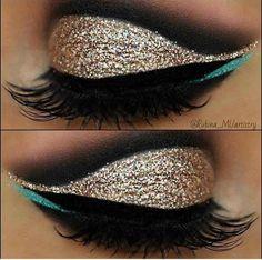 Gold, Black and Blue eye makeup #blueeyemakeup