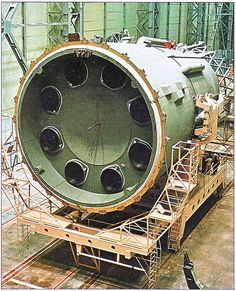 https://flic.kr/p/8RWa1X | N1-L3 Moon Rocket Assembly | The N-1 Block B (second stage) houses 8 NK-33 Rocket Engines. It's Max Diameter is 10.3 Meter and it's Height is 20.5 Meter.