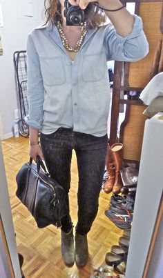 les anti-modernes*: foundations: blue notes  Love the chambray, blingy necklace, skinnies, and boots