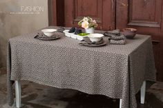 Grey linen tablecloth with brown pattern. Made from 100% washed linen fabric. #linentablecloth