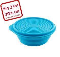 Collapsible Silicone Bowl for Camping - Food-grade & Space-Saving, Sky Blue - by Not Just A Gadget Camping Dishes, Camping Meals, Camping Recipes, Camping Kitchen, Enclosed Trailer Camper, Outdoor Gadgets, Camping Gadgets, Camping Survival, Pet Bowls