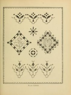 Beautiful borders from a vintage embroidery pattern book: The author writes… Vintage Embroidery, Embroidery Applique, Embroidery Stitches, Embroidery Patterns, Quilt Patterns, Machine Embroidery, Embroidery Books, Doll Quilt, Cutwork