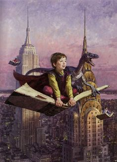 James Gurney, Flights of Fancy. New York, dinosaurs and flying books - perfect!