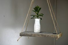 Wooden Hanging Shelf with Succulent in Rustic Jar, Swing Shelf, Hanging Planter, Rustic Shelf, Bohemian Decor, Minimalist Decor