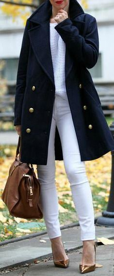 Fall outfit - Navy + White.