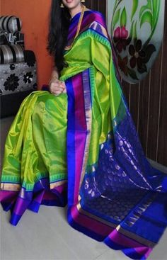 Poly Silk Green Saree with Matching Color silk Blouse. It contained of Printed. The Blouse which can be customized up to bust size This Unstitch Saree Length mtr including mtr Blouse. Classic Indian Saree Press Visit link above for more options Kuppadam Pattu Sarees, Ikkat Silk Sarees, Indian Sarees, Saris, Ethnic Sarees, Kurti, Silk Sarees With Price, Soft Silk Sarees, Cotton Saree