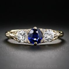 Antique English Sapphire and Diamond Ring, ca. 1880-1900