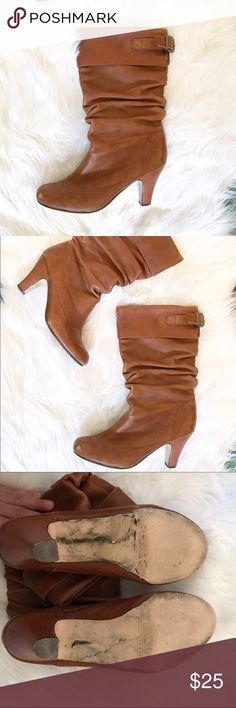 Steve Madden Legion Mid Calf Heeled Boots Sz 9 M Steve Madden Legion Brown Leather Scrunched Mid Calf Heeled Boots Sz 9 M. Cognac color. See photos for flaws, but still great used condition. Pair with some leggings or a cute skirt. Bundle and save. 🎈😉👍 Lucky Brand Shoes Heeled Boots