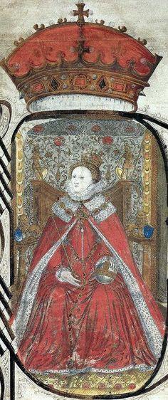 Queen Elizabeth's Private Jewels | Manuscript portrait of Elizabeth I, from the Coram Rege Roll