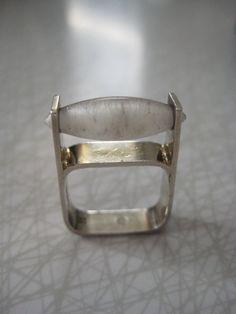 Swedish modernist sterling silver and quartz crystal
