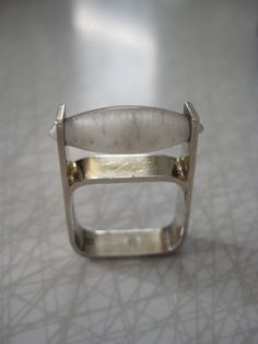 Swedish modernist sterling silver and quartz crystal