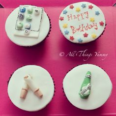 Themed Cupcakes - Favorite Themed Cupcakes   All Things Yummy #happybirthday #iphone #apps #tuborg #beer #cigarettes #apple #stars #beerbottle #pint #whatsapp #facebook #camera #atyummy #cupcAkes #cuppies #customisedcupcakes