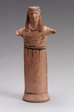 Goddess standing  Greek, Archaic Period, about 6th century B.C.  PLACE OF MANUFACTURE  Boiotia, Greece