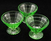 Block Optic Green Depression Glass Sherbets Hocking Vtg #EasyPin